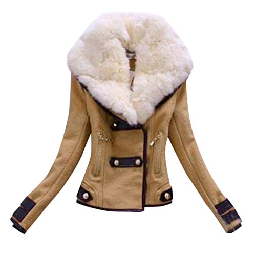 FRAUIT dames bontkraag winterjas warm kunstbont jas splice zip coat bikerjas parka mantel twee rijen kort motorjack slim fit jas kleding blouse top outwear