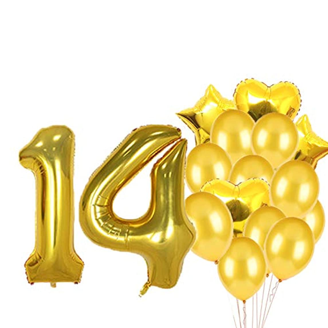 Sweet 14th Birthday Decorations Party Supplies,Gold Number 14 Balloons,14th Foil Mylar Balloons Latex Balloon Decoration,Great 14th Birthday Gifts for Girls,Women,Men,Photo Props