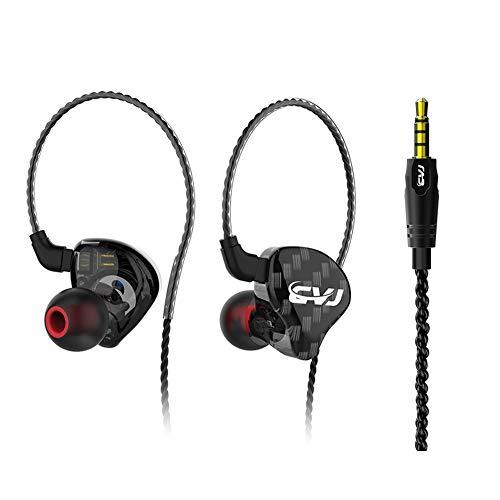 MQUPIN - Auricolari professionali con bassi Hi-Fi e cancellazione del rumore, con cavo rimovibile a 2 pin e custodia per 3 gommini in silicone. no mic Nero