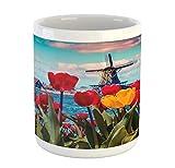 Tazza di Amsterdam, Idyllic Spring Morning Photo con Canale Olandese e Mulino a vento in Olanda, tazza in ceramica per bevande da tè, 311,8 g, rosso blu