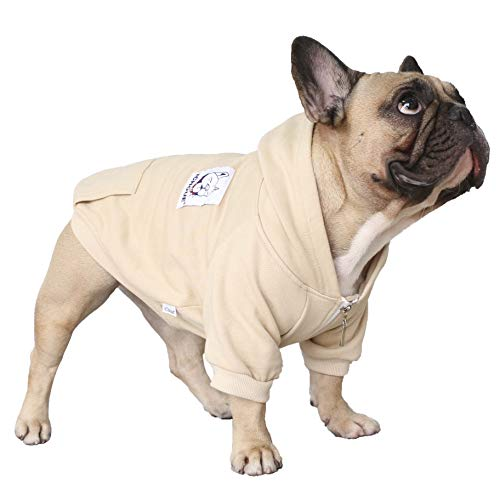 iChoue Pet Clothes Dog Hoodie Hooded Full-Zip Sweatshirt French Bulldog Frenchie Pug Corgi Puppy Cotton Winter Warm Coat Clothing - Khaki/Size S