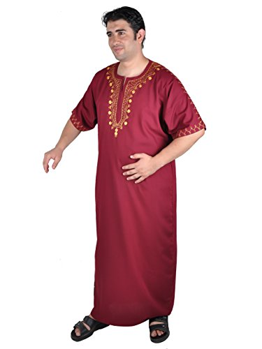 Egypt Bazar Egypt Bazar Moderner Herren-Kaftan, weinrot (bordeux) / Gold ((52-54) L)