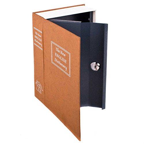 Buchtresor XXL Buchsafe Tresor Büchersafe Geldkassette als Buchattrappe Bücherregal-tresor für Zuhause und auf Reisen Wertsachen-Versteck Geheimversteck-Safe in Buch Optik mit 2 Schlüssel