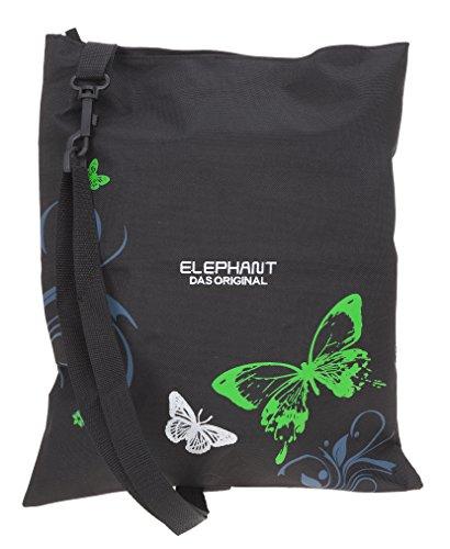 Elephant Turnbeutel 12371 Hero Signature Sportbeutel Wäschebeutel mit Schultergurt/fixierbar 12677 (Butterfly Black Green)