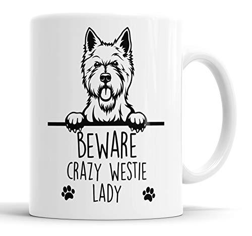 """Faithful Prints Taza de cerámica Westie Beware Crazy Lady con texto en inglés """"West Highland Terrier"""", para mamá, papá, amigo, broma, regalo divertido para cumpleaños, Navidad, taza de cerámica"""