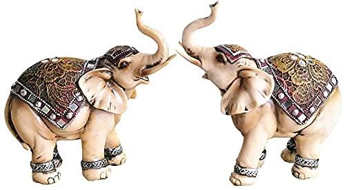 YXYSHX Escultura Estatua Coleccionables Decorativos 2 Unid/Set Resina Hecho a Mano Elefante de la Suerte Decoración del hogar Sala de Estar Feng Shui Gabinete de Vino Adornos de Porche