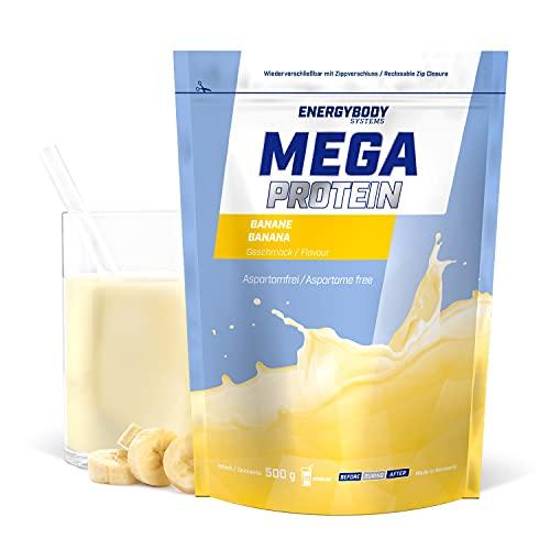 """Energybody Mega Protein """"Banane"""" 500 g / Mehrkomponenten Protein mit Casein Whey Mix als Eiweißshake / Eiweisspulver ohne Aspartam/ Protein-Pulver / 20 Portionen"""