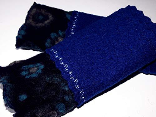Armstulpen/Pulswärmer: Walkwolle (Walkloden, Kochwolle) in Dunkelblau, dehnbare Walkwolle (Strickwalk) in Nacht-Blau (Blumen-Relief in Türkis und Grün); Bort, Zierstiche