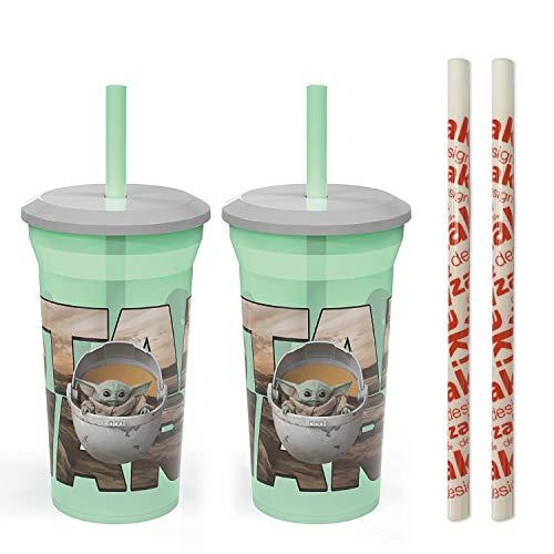 Zak Designs Copo divertido com canudo Star Wars The Mandalorian Baby Yoda The Child – Artigos infantis duráveis e livres de BPA, inclui 2 canudos reutilizáveis de bônus (2 pacotes, 396 g)