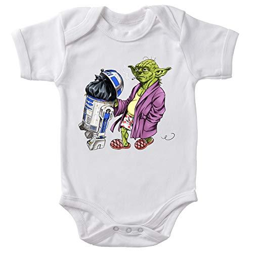 Body bébé Manches Courtes Blanc Parodie Star Wars - R2-D2 et Yoda - Le Maître en Week-End. (Body bébé de qualité supérieure de Taille 6 Mois - imprimé en France)