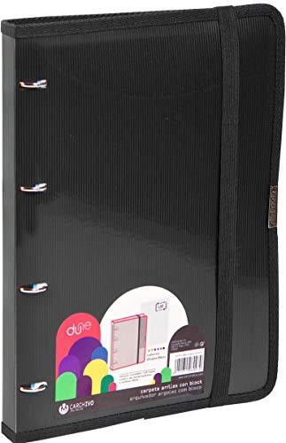 Carchivo - Carpeta Carpeblock Dune, con bloc y sobre, color negro