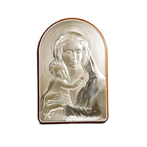Acca Quadro Icona Sacra Virgen con niño, Escultura en bajorrelieve en Plata 925 y Madera, para Mesa y Paredes