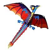Haodene - Volante con forma de dinosaurio para niños y adultos, cometa volante con tabla de 100 metros y cola giratoria, muy fácil de controlar.