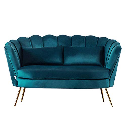 Warmiehomy Modern Velvet 2 Seater Sofa Double Couch Settee Loveseat Sofa Lounger Living Room Furniture (Teal Blue)