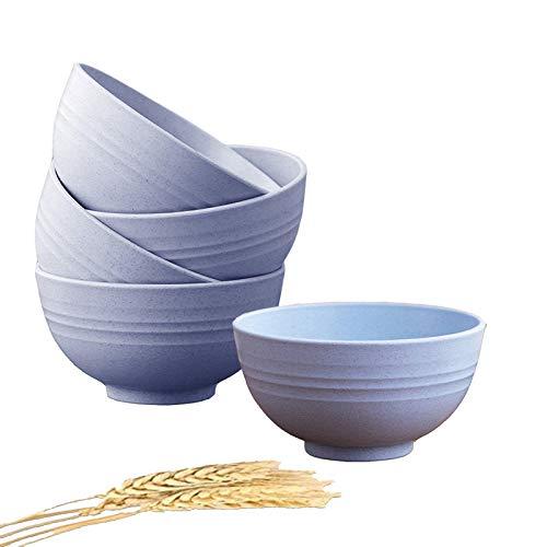 5 Piezas Cuenco Cereales, 24 oz irrompibles Bol Cereales Bowls Cocina Ensaladeras Vajilla Tazones de Consomé, Aptos para lavavajillas y microondas para niños, arroz, tazones para Sopa Tazones (Azul)