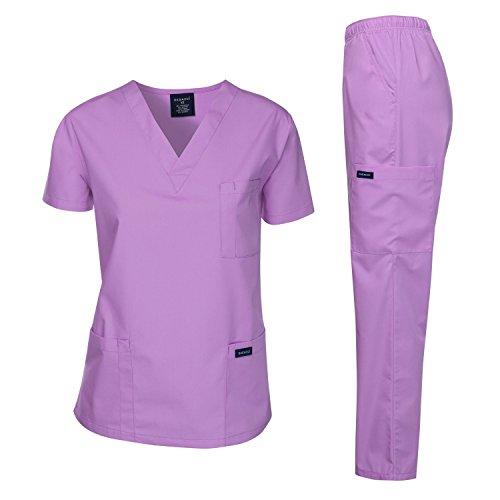 Dagacci Medical Uniform Woman and Man Scrub Set Unisex Medical Scrub Top and Pant, Lavender, XL