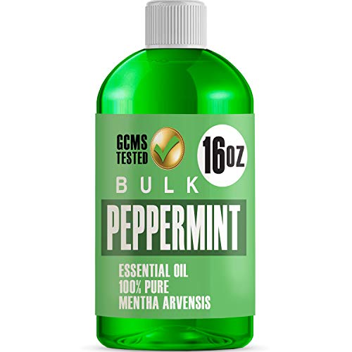 16oz Bulk Peppermint Essential Oil (GIANT 16 OUNCE BOTTLE - THERAPEUTIC GRADE PEPPERMINT OIL) Perfect For Aromatherapy Diffusers, Help Repel Mice & Rats, Candle Making, Soap Making, Lotions, Body Wash