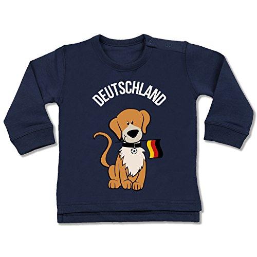 Shirtracer Fußball-Europameisterschaft 2020 - Baby - Fußball Deutschland Hund - 12/18 Monate - Navy Blau - BZ31 - Baby Pullover