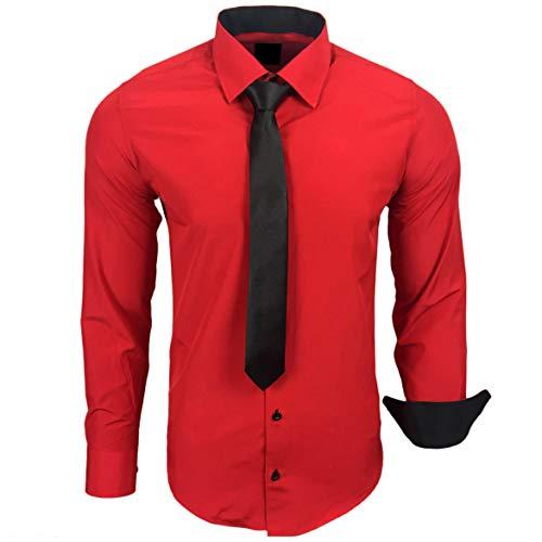 Baxboy 444-BK Herren Kontrast Hemd Business Hemden mit Krawatte Hochzeit Freizeit Fit, Farbe:Rot, Größe:2XL