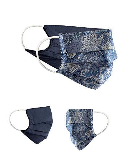 BaF Masque en Tissu 100% Coton Lavable OEKO-TEX 100 Lot de 2 Set Pack double Masque Buccal et Nasal Réutilisable, Mixte Adulte, Bleu, Taille unique