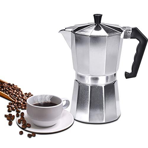 Lychee Moka Express, Cafetera Italiana Espresso,Cafetera Moka Clásica,Plata, Uso Doméstico,Viajes y en la Oficina (300ml -6 Tazas)