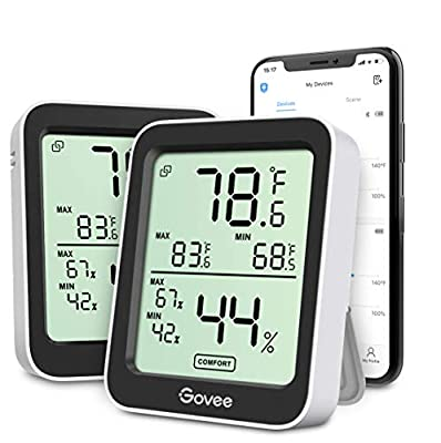 Govee Indoor Hygrometer Thermometer 2 Pack, Bluetooth Humidity Temperature Gauge with Large LCD Display, Notification Alert with Max Min Records, 2 Years Data Storage Export for Room Greenhouse, Black