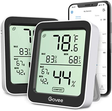 Govee Indoor Hygrometer Thermometer 2 Pack Smart Humidity Temperature Gauge with Large LCD Display product image