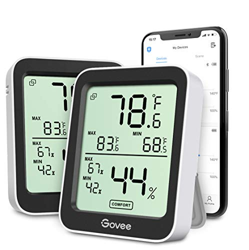 Govee Indoor Hygrometer Thermometer 2 Pack, Smart Humidity Temperature Gauge with Large LCD Display, Notification Alert with Max Min Records, 2 Years Data Storage Export for Room Greenhouse, Black