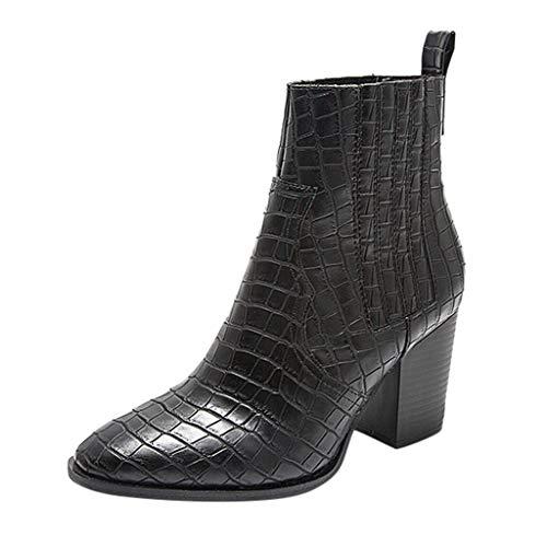 R-Cors Botines para Mujer Piel de cocodrilo Slip-On tacón Cuadrado Moda Botas Cortas de Gran tamaño Estilo Simple