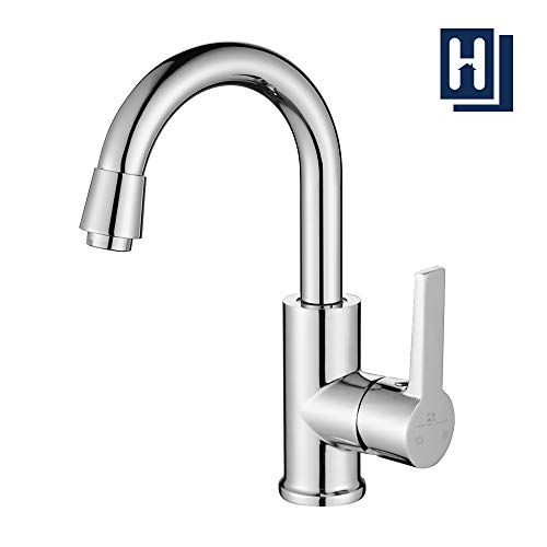Homelody Wasserhahn Bad Armatur 360° drehbar Auslauf Waschtischarmatur Waschbeckenamatur Küchenarmatur Spülbeckenarmatur Mischbatterie für Bad und Küche