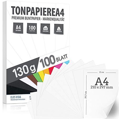 Druckerpapier A4 130g 100 Blatt Tonzeichenpapier weiß - PREMIUM - Schneeweiß - Kopierpapier - Unbedruckt für Postkarten, Briefe, Pappe, Präsentationen 21x29 cm Bögen, Basteln, Scrapbooking, Geschenke