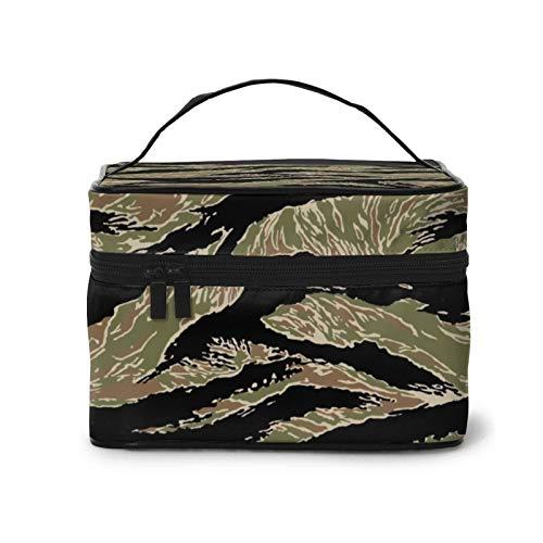 Tiger Stripe Camo bolsa de cosméticos, bolsa de maquillaje, bolsa de viaje portátil para mujeres, organizador de maquillaje con cremallera