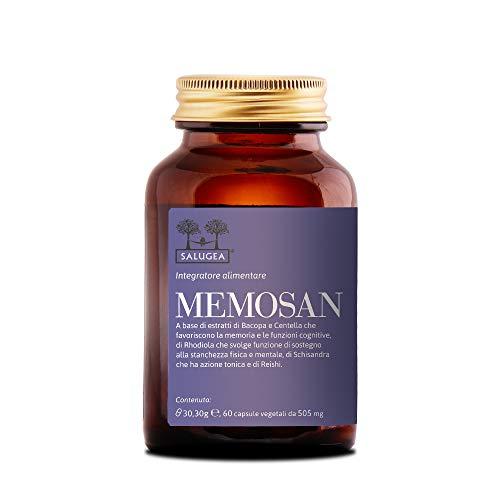 MEMOSAN Salugea - Integratore per la memoria e la concentrazione - 100% naturale con Bacopa, Schisandra, Reishi, Rhodiola e Centella - 60 capsule vegetali - Flacone in vetro scuro farmaceutico