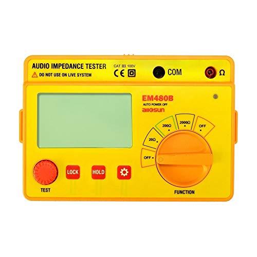 Medidor Probador Digital EM480B Probador de impedancia de audio CATIII 3 Rangos de prueba 20/200/2000 Medidor de resistencia Probador de resistencia 1KHz Tester multifuncional