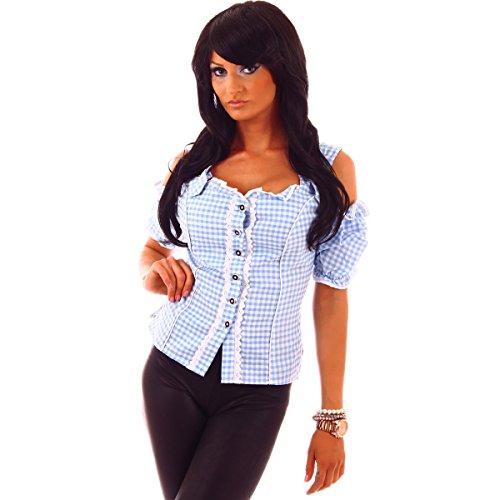 Fashion4Young 20612 Damen Dirndlbluse Bluse Trachtenbluse Oktoberfest Lederhose Trachtenmieder (M=38, blau-Weiss)