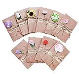 10 pezzi Biglietto Di Auguri Cartolina Buste, Retrò Carta Kraft Fiori Secchi Decorato Cartolina per Diverse Occasioni Auguri di Matrimonio, Compleanno Inviti Lettera Natale Festa della mamma