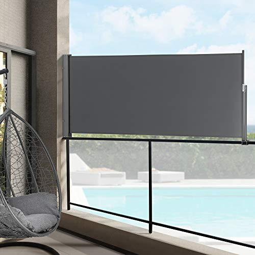 pro.tec Seitenmarkise 100 x 300 cm Grau Witterungsbeständig Sichtschutz Markise Sonnen- & Windschutz