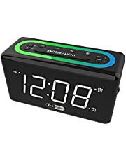 Digital Dual Alarm Clock for Bedroom, USB Charging Port, 0-100% Display Brightness Dimmer, 7 Color Night Light, Adjustable Volume, Snooze, Simple Operation Electronic Clock for Kids, Teens, Black