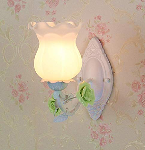 Lámpara de pared Lámpara de mesita de jardín led cálida faros de espejo de dormitorio infantil - poste blanco rosa verde bombilla led de luz cálida