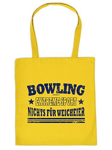 Hammer geile Baumwolltasche mit Aufdruck - Bowling Extreme Sport Nichts für Weicheier - coole Hipster Tasche für Sportler Tragetasche Einkaufstasche
