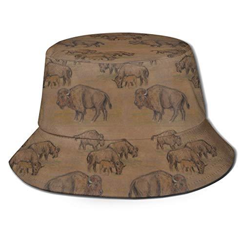 NA Chapeau de soleil unisexe à large bord Paon Protection solaire extérieure Marche pêcheur Bison Buffalo Herd