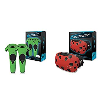 Hyperkin GelShell Controller Silicone Skin for HTC Vive Pro/HTC Vive  Green   2-Pack  & GelShell Headset Silicone Skin for HTC Vive  Red
