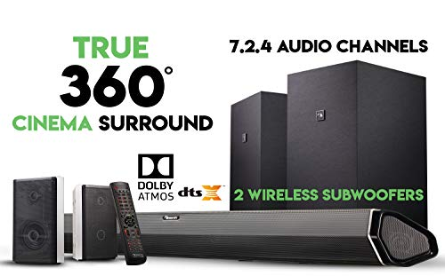 "Buy Nakamichi Shockwafe Elite 7.2.4 Channel 800W Dolby Atmos Soundbar with Dual 8"" Subwoofers (Wir..."