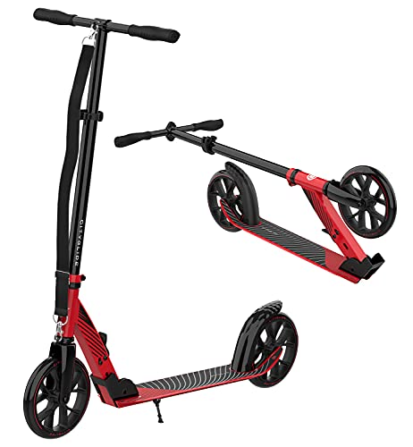 CITYGLIDE C200 Scooter for Adults, Scooters for Teens 12 Years and Up - Foldable, Lightweight, Adjustable - Kick Scooters for Kids 8 Years and Up with Carry Strap and Kickstand (Red)