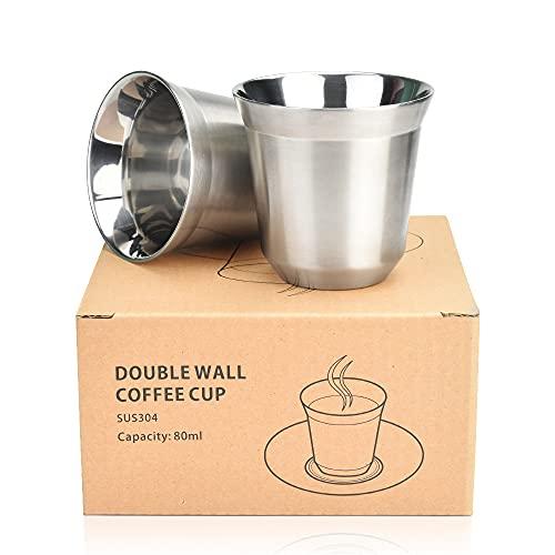 WANTOUTH 2 Pcs Tazas de Cafe de Acero Inoxidable Vasos de Doble Pared para Café 80 ml Vasos de Acero Inoxidable con Aislamiento Vasos de Metal Tazas de Espresso para Hogar Viaje Senderismo Acampada