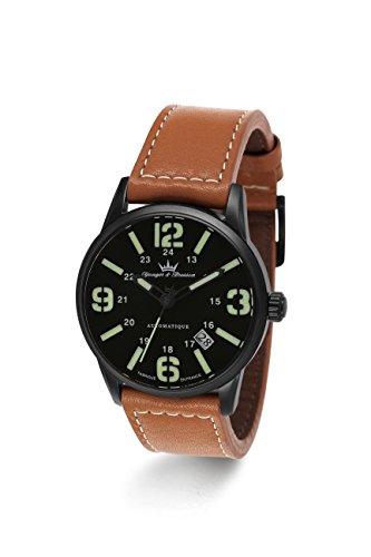 Yonger & Bresson–YBH 8351–88–X-Trem–Zeigt Herren–Automatische Analog–Zifferblatt schwarz Armband Leder braun