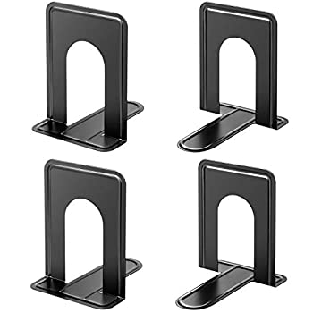 MaxGear Book Ends Universal Premium Bookends for Shelves Non-Skid Bookend Heavy Duty Metal Book End Book Stopper for Books/Movies/CDs/Video Games 6 x 4.6 x 6 in Black  2 Pairs/4 Pieces Large