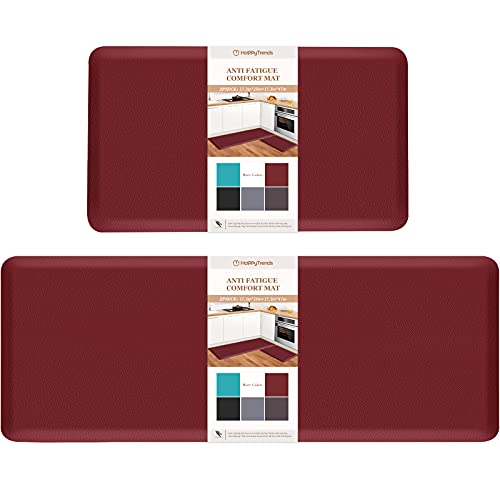 HappyTrends Kitchen Mat [2PCS] Cushioned Comfort Anti-Fatigue Floor Mat, Waterproof Non-Slip Kitchen Rugs, Thick Perfect Ergonomic Foam Standing mat for Kitchen, Home, Office, Laundry (Red)