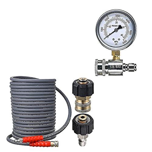 IDGE WASHER Pressure Washer Hose 50 Feet X 3/8 Inch, Pressure Washer Gauge with 3/8 Inch Quick Connect Socket and Plug