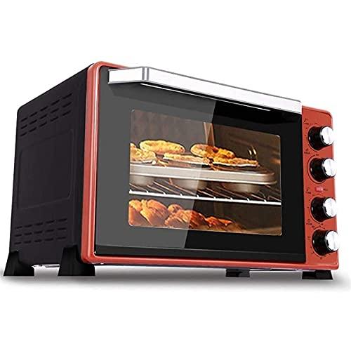 Horno Sobremesa doméstico 45L Mini horno eléctrico con doble placa, Funciones de cocción múltiple Grill, control de temperatura ajustable